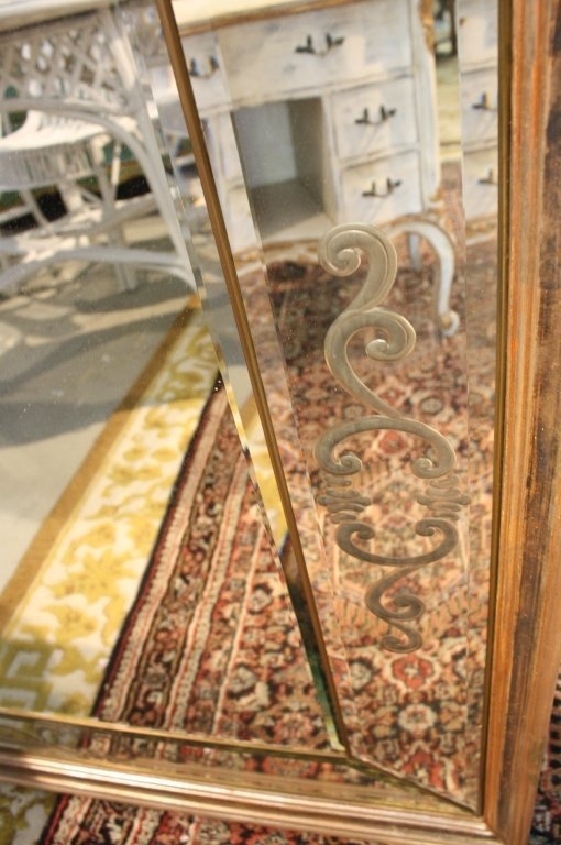 Copper painted framed multipanel mirror - 4