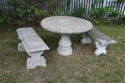 Outdoor Stone Pedestal Table and two Stone Benches