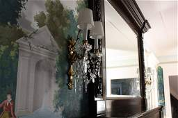 Pair Antique gilded bronze sconces with crystal