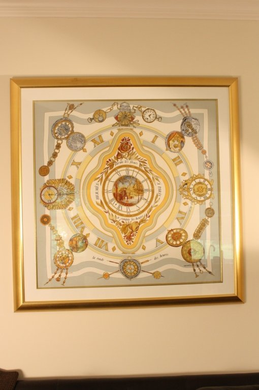 HERMES limited edition watch time scarf framed.