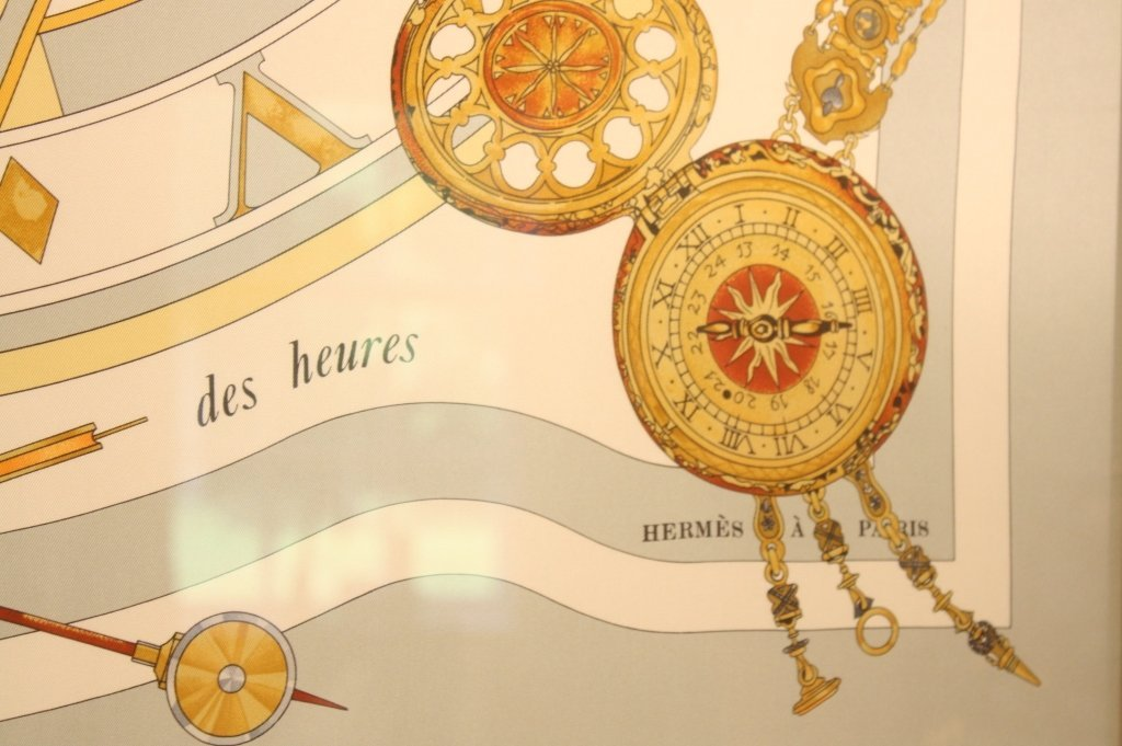 HERMES limited edition watch time scarf framed. - 3