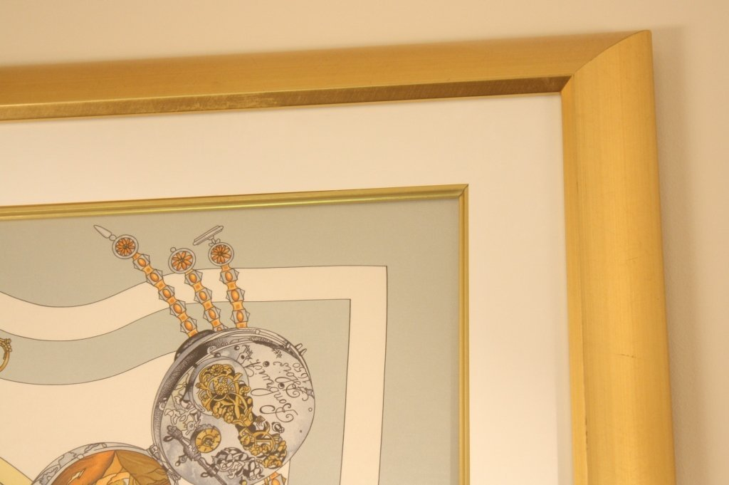 HERMES limited edition watch time scarf framed. - 5