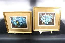 P FERON Pair Gold Framed French Oil paintings