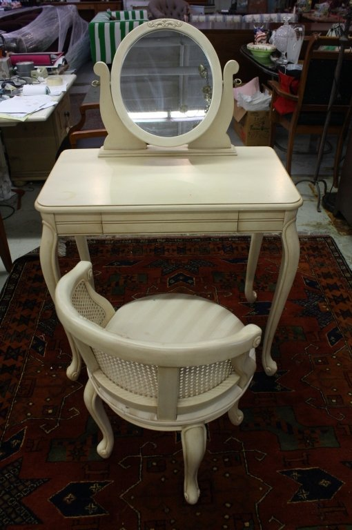 Painted white vanity with chair