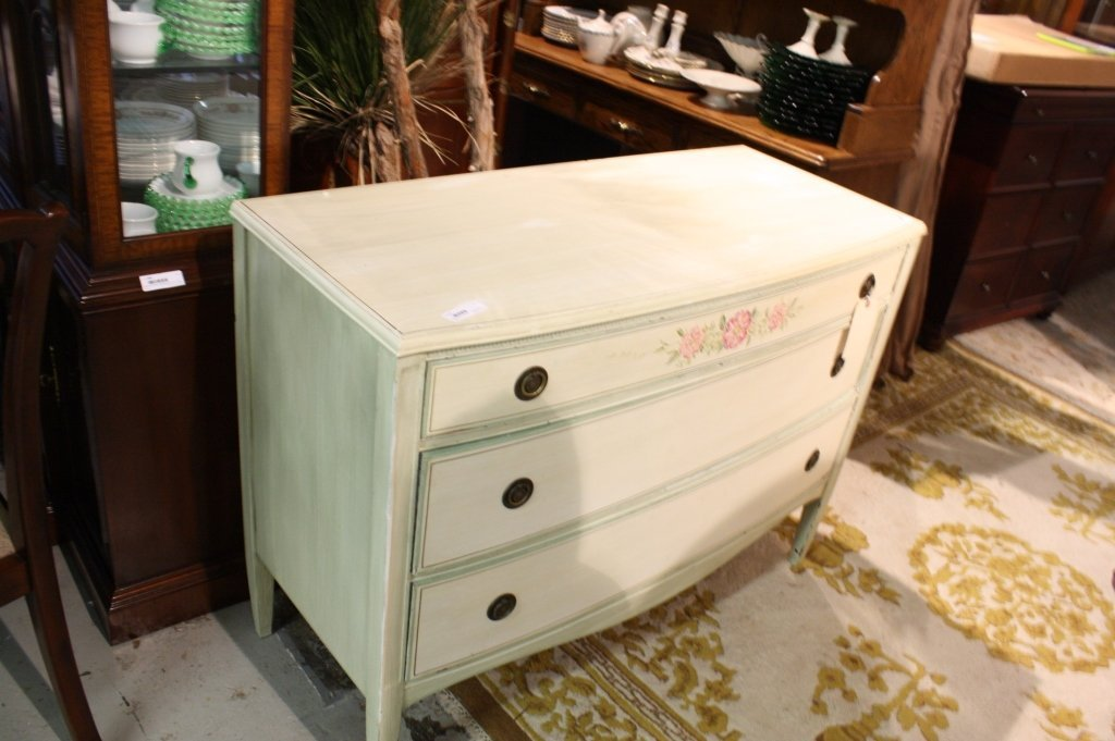 Painted Chest of Drawers  Pink and Green Flowers