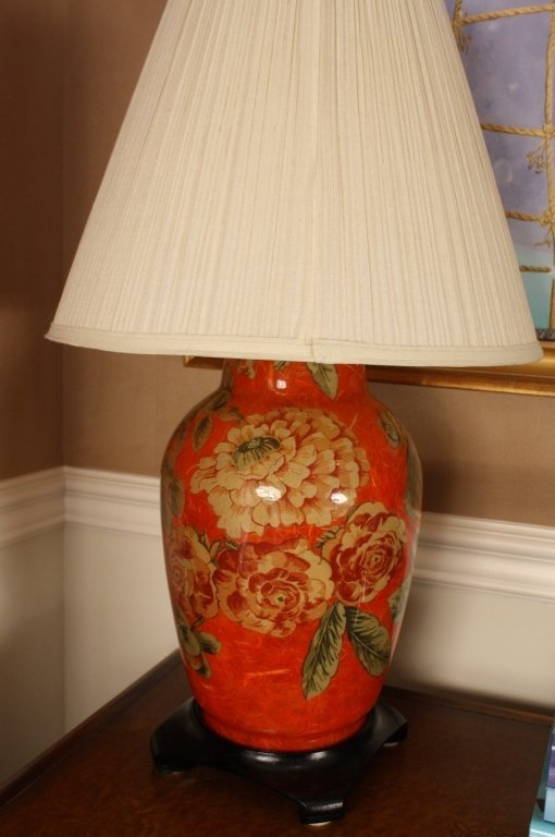 STARK FINE FURNITURE painted Asain red lamp