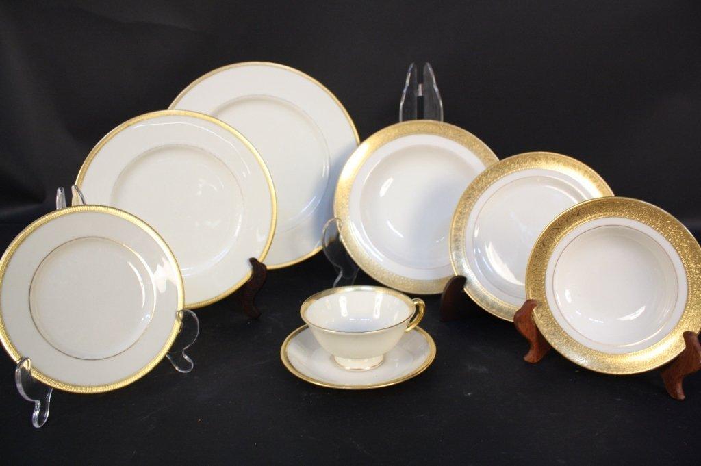 Gold rimmed Lenox china dinner set