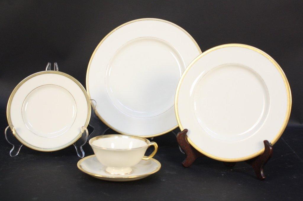 Gold rimmed Lenox china dinner set - 6