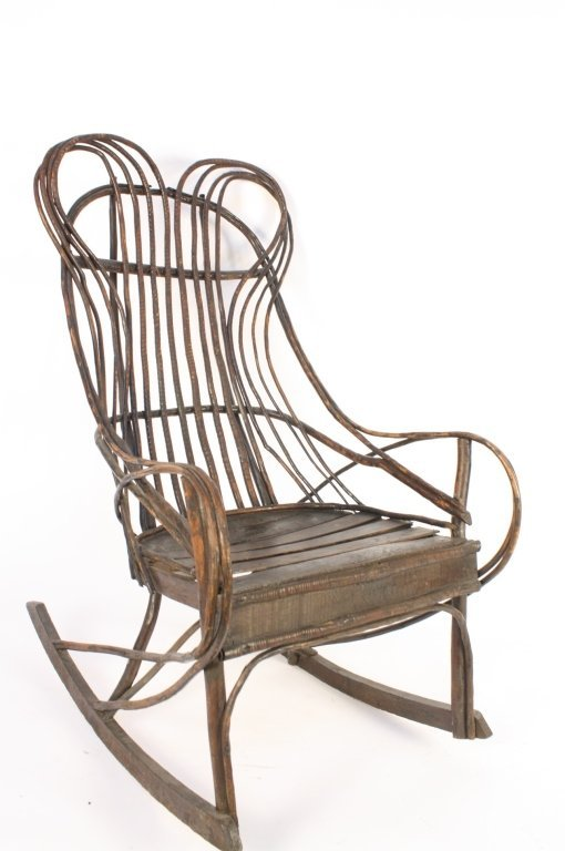 Antique Old Willow Rocking Chair
