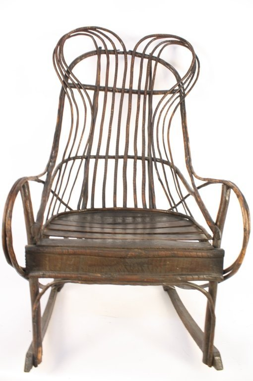 Antique Old Willow Rocking Chair - 2