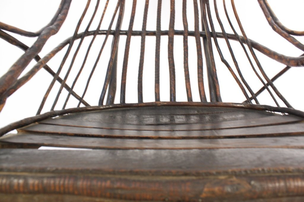 Antique Old Willow Rocking Chair - 3