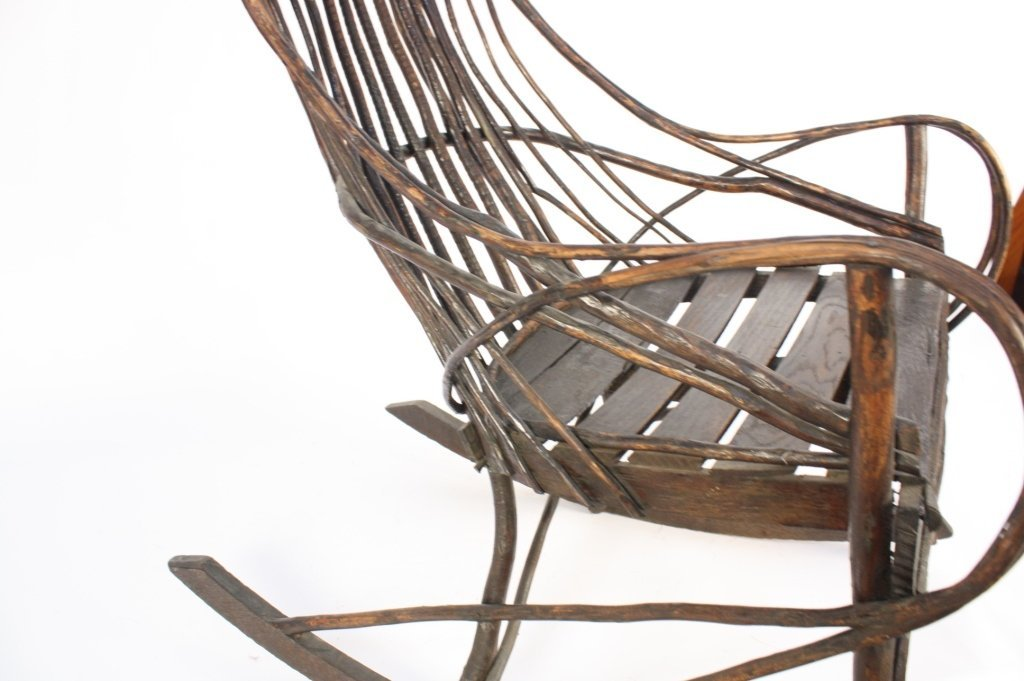 Antique Old Willow Rocking Chair - 4