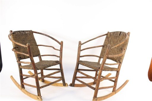 Fantastic Pair Antique Adirondack Old Hickory Rocking Chairs Gmtry Best Dining Table And Chair Ideas Images Gmtryco