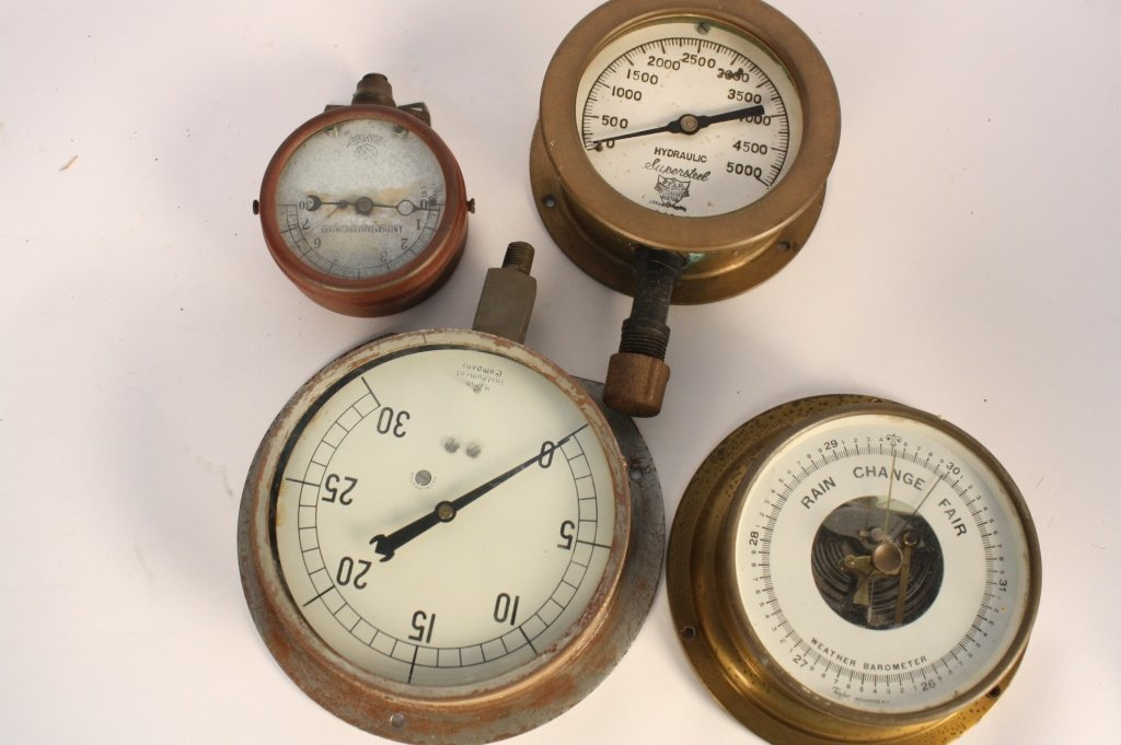 4 Antique Steam Gauges and Weather  Instruments