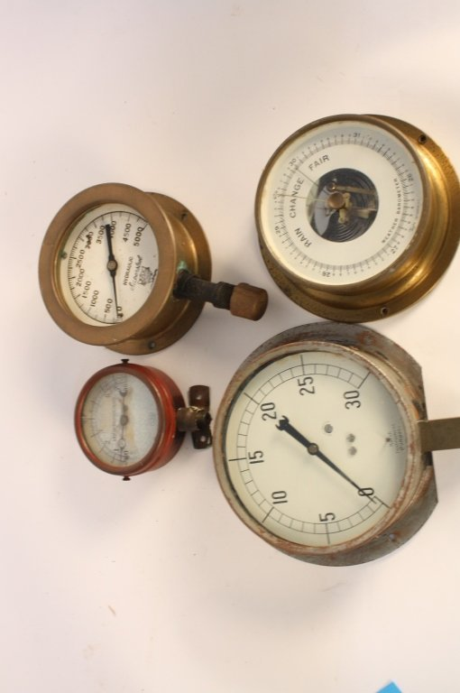 4 Antique Steam Gauges and Weather  Instruments - 2