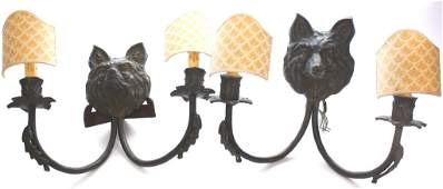 Pair of Wolf Form Sconces with Scalloped Shades