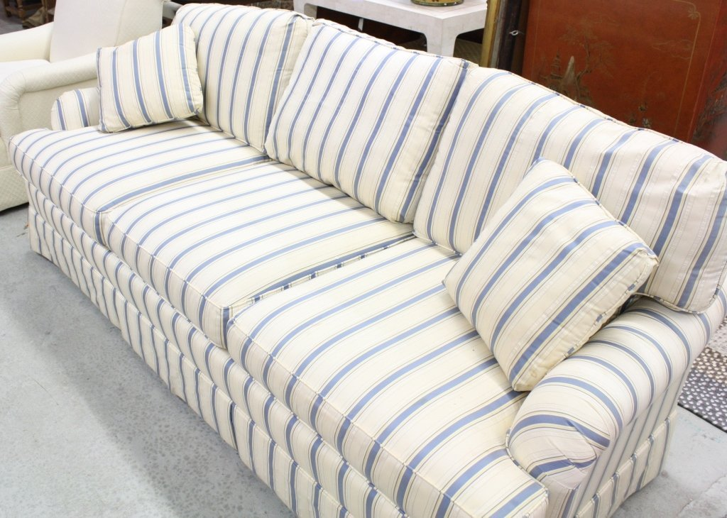 Blue and white striped sofa blue and white striped sofa for Blue white sofa