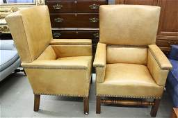 Pair of RALPH LAUREN Leather Straight  Arm Chairs