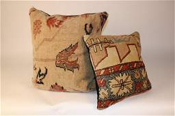 Pair Antique Oriental Carpet Made Throw Pillows