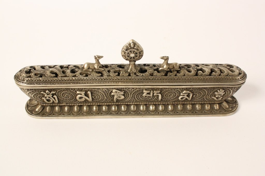 Hindu Style Brass Statue and Incense Box
