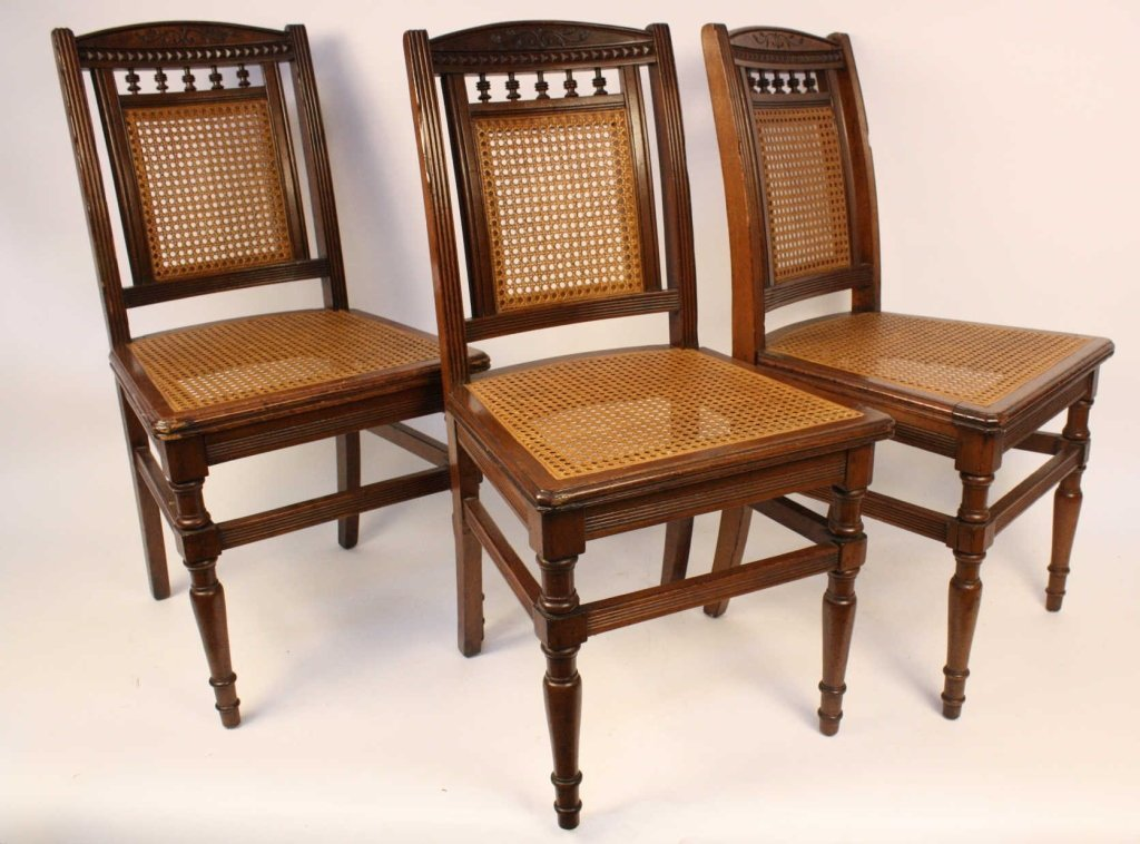 Six Cane Seat side chairs with Fluted Legs