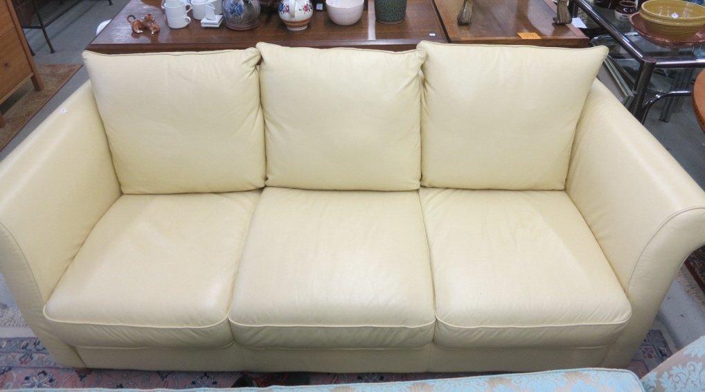 Italian Supple Leather Chamois Color 3 Seat Sofa
