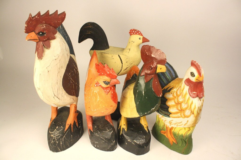 6 Folk art carved roosters and chickens