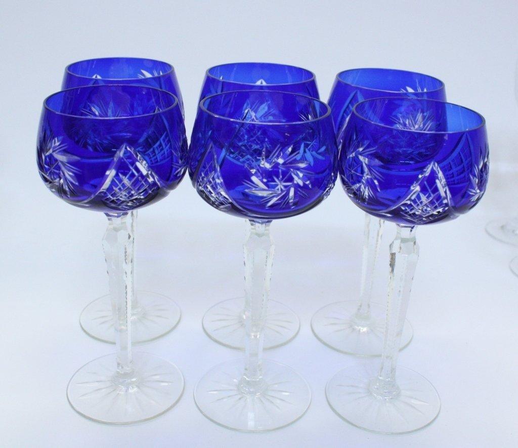 Six Blue Bohemian Cut Glass Goblets