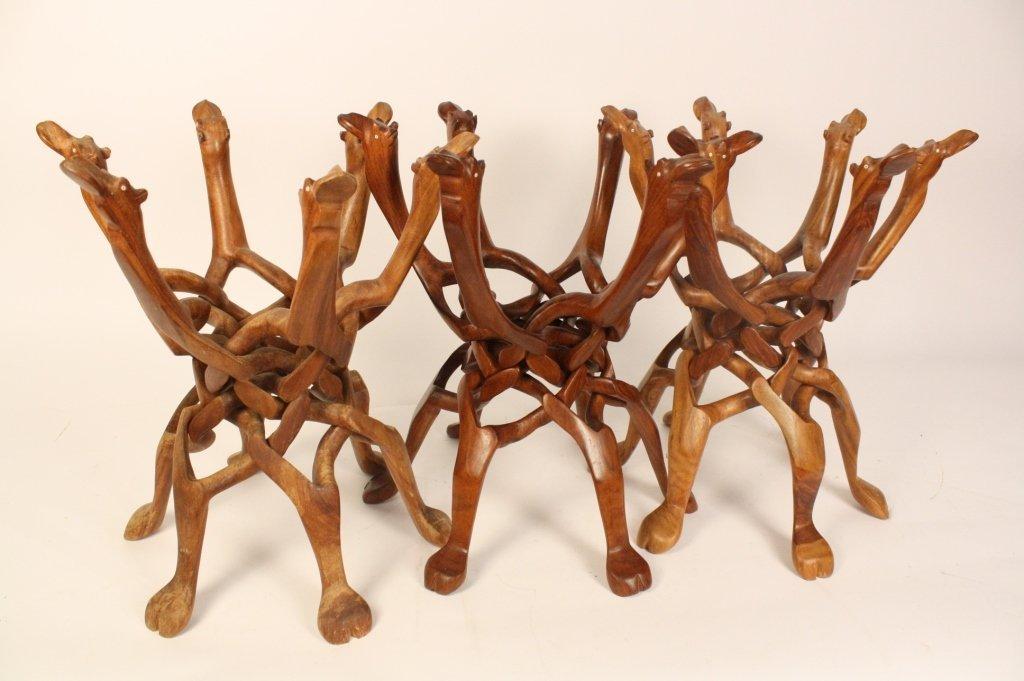 Set of 3 Hardwood Camel Carved Planters