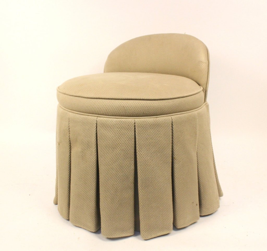 Upholstered Skirted Round Vanity Chair