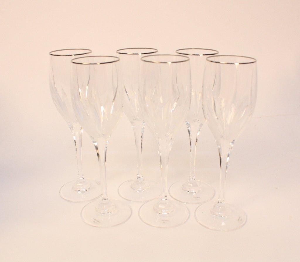 6 Gold Rimmed Cut Crystal Stem Glasses