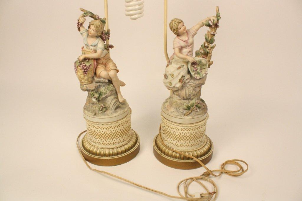 Pair Bisque Lamps