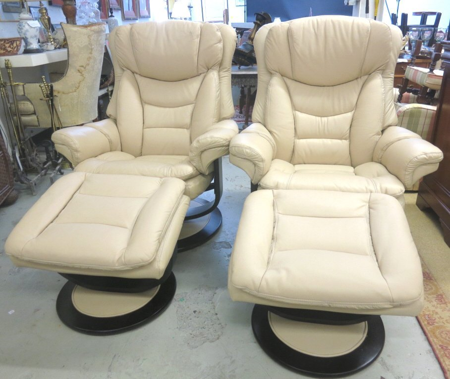 Pair of LANE Leather Armchairs with Ottomans