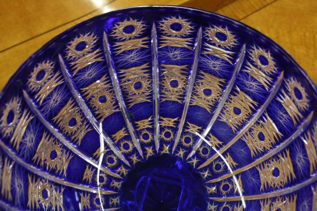 Set Royal Blue Bohemian Crystal Bowl and modernbow