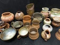 BOX LOT 4 Brown Bowl Pots Planters
