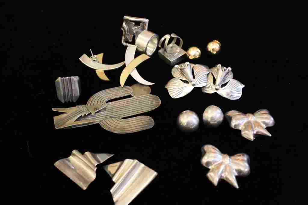 Vintage Sterling Silver 14K Gold Jewelry Group Lot