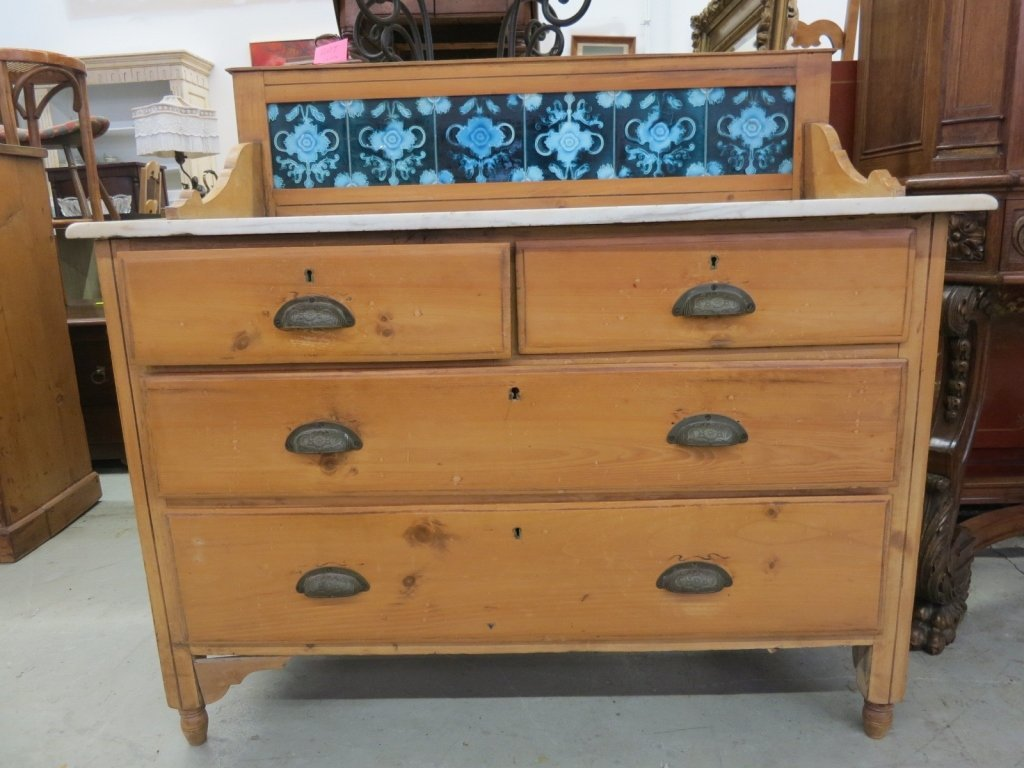 Antique Marble and tile topped pine chest