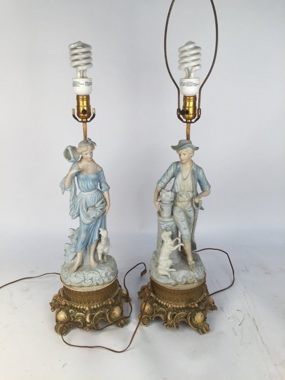 Pair of Blue Bisque Lamps