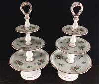 Pair Antique Painted Italian tiered platters