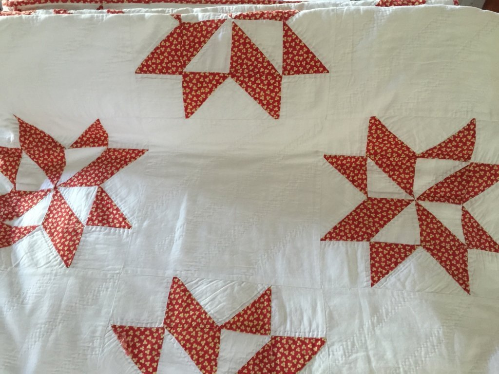 Two Antique Hand Stitched Quilted Bed Covers