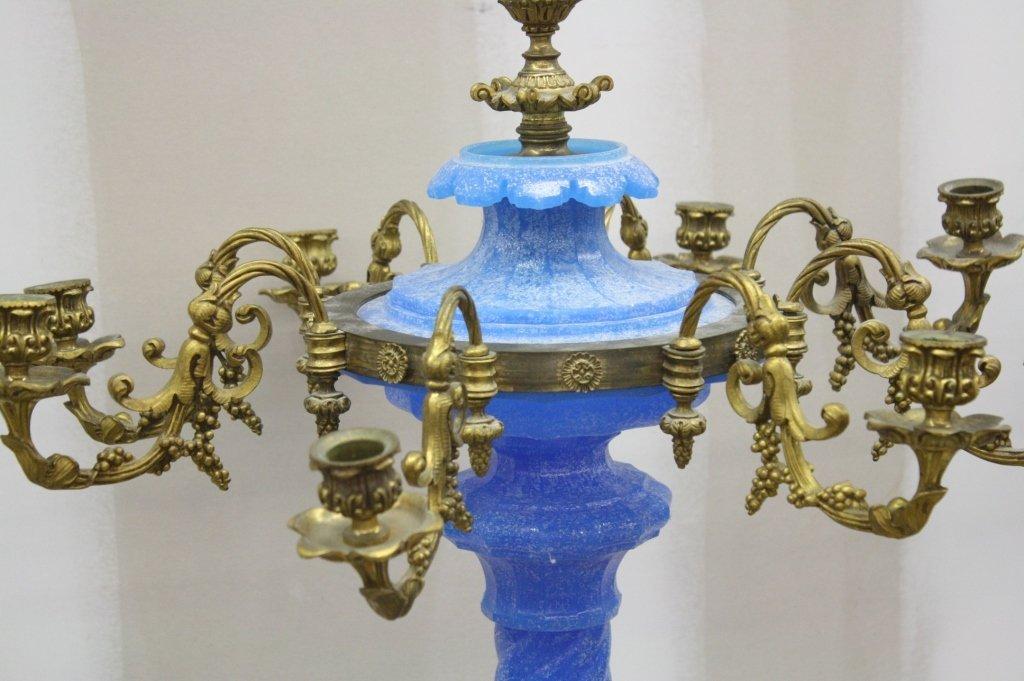BACCARAT Style Pair Azure Glass Candelabrum Ormolu