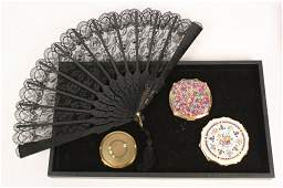 Ladies Black Lace Fan and Vintage Compacts