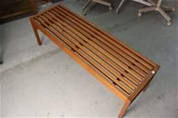 MId Century Danish Teak Bench Signed c. 1960s