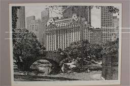 Signed Central Park Lithograph
