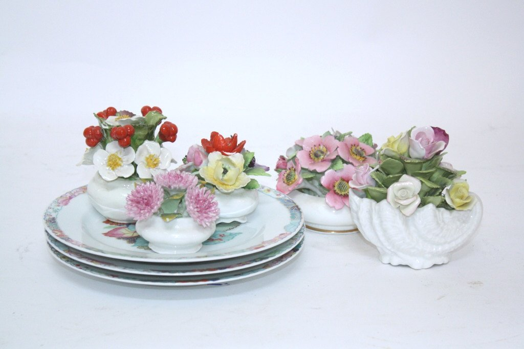 Group Lot of Ceramic Flowers and LIMOGES Plates