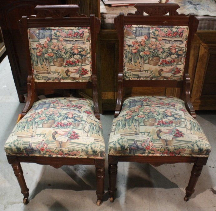 Pair Victorian Floral Tapestry Chairs