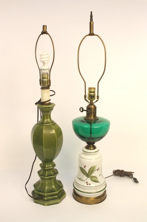 Group Lot Green and White Ceramic Lamps
