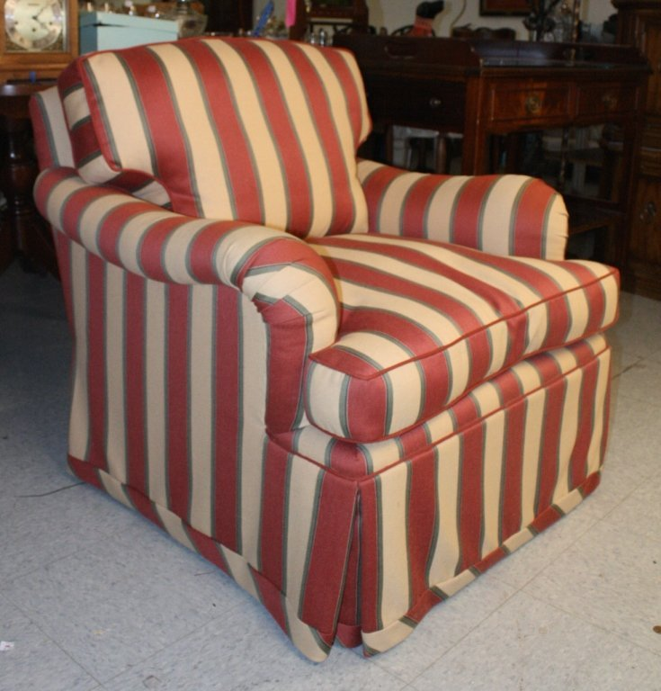 Stripped Lounge Chair and Ottoman