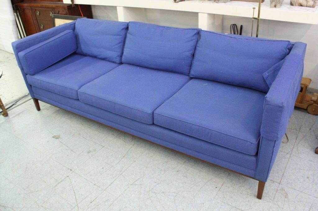 Mid Century Blue Three Seat Sofa