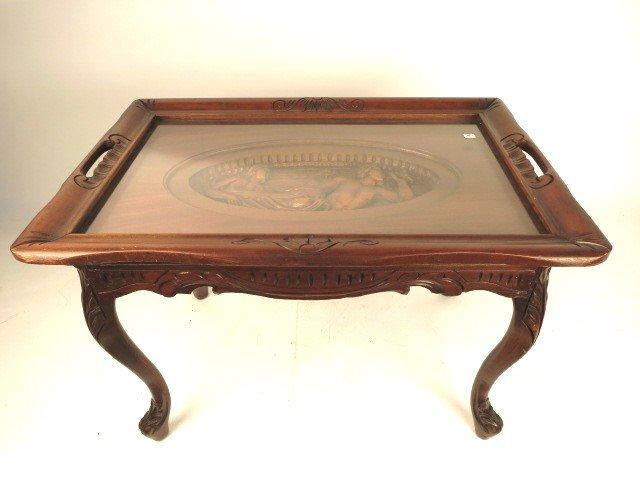 Hand Carved Mahogany Glass Tray Table